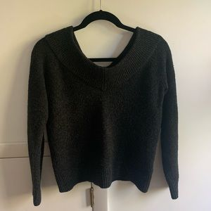 H&M Charcoal Off-Shoulder Wool Sweater